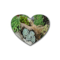 Plant Succulent Plants Flower Wood Rubber Coaster (Heart)