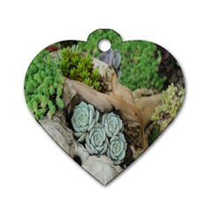 Plant Succulent Plants Flower Wood Dog Tag Heart (two Sides)