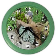 Plant Succulent Plants Flower Wood Color Wall Clocks