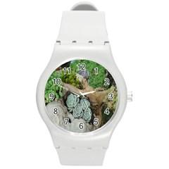 Plant Succulent Plants Flower Wood Round Plastic Sport Watch (M)