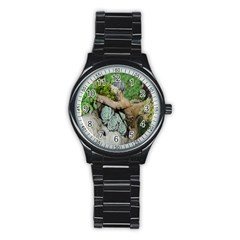 Plant Succulent Plants Flower Wood Stainless Steel Round Watch