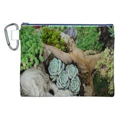 Plant Succulent Plants Flower Wood Canvas Cosmetic Bag (XXL)