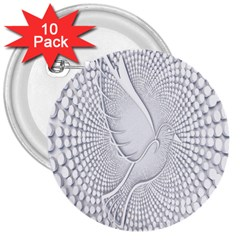 Points Circle Dove Harmony Pattern 3  Buttons (10 pack)
