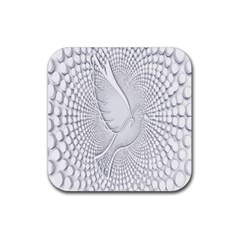 Points Circle Dove Harmony Pattern Rubber Square Coaster (4 Pack)