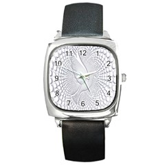 Points Circle Dove Harmony Pattern Square Metal Watch