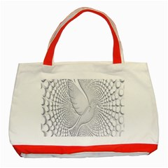 Points Circle Dove Harmony Pattern Classic Tote Bag (red)