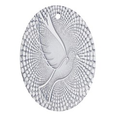 Points Circle Dove Harmony Pattern Oval Ornament (two Sides)