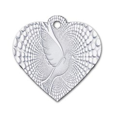 Points Circle Dove Harmony Pattern Dog Tag Heart (one Side)