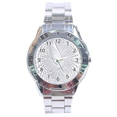Points Circle Dove Harmony Pattern Stainless Steel Analogue Watch