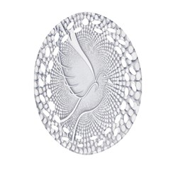 Points Circle Dove Harmony Pattern Oval Filigree Ornament (two Sides)