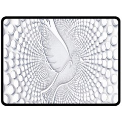 Points Circle Dove Harmony Pattern Double Sided Fleece Blanket (large)