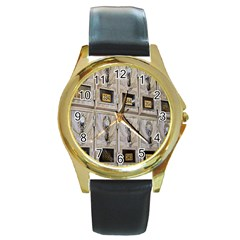 Post Office Old Vintage Building Round Gold Metal Watch