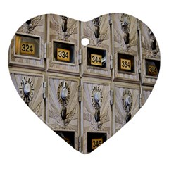 Post Office Old Vintage Building Heart Ornament (two Sides)