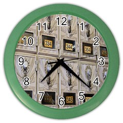 Post Office Old Vintage Building Color Wall Clocks