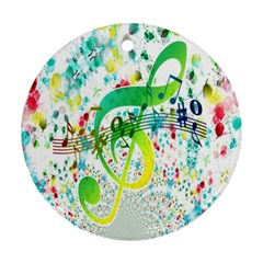 Points Circle Music Pattern Ornament (Round)