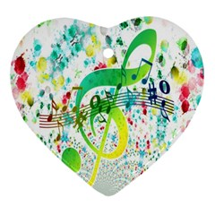 Points Circle Music Pattern Ornament (Heart)