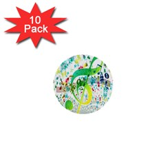 Points Circle Music Pattern 1  Mini Buttons (10 pack)