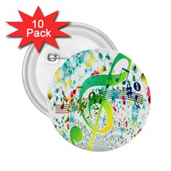 Points Circle Music Pattern 2.25  Buttons (10 pack)