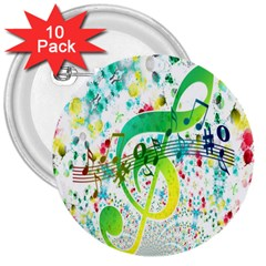Points Circle Music Pattern 3  Buttons (10 pack)