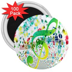 Points Circle Music Pattern 3  Magnets (100 pack)