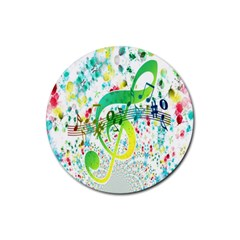 Points Circle Music Pattern Rubber Coaster (round)