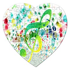 Points Circle Music Pattern Jigsaw Puzzle (Heart)