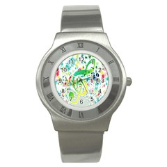 Points Circle Music Pattern Stainless Steel Watch