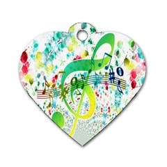Points Circle Music Pattern Dog Tag Heart (One Side)