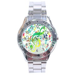 Points Circle Music Pattern Stainless Steel Analogue Watch