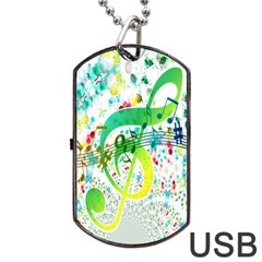 Points Circle Music Pattern Dog Tag USB Flash (One Side)