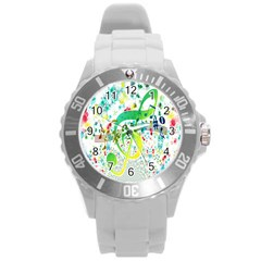 Points Circle Music Pattern Round Plastic Sport Watch (l)