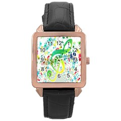 Points Circle Music Pattern Rose Gold Leather Watch