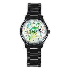 Points Circle Music Pattern Stainless Steel Round Watch