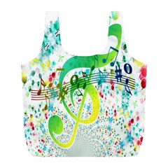 Points Circle Music Pattern Full Print Recycle Bags (L)