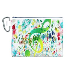 Points Circle Music Pattern Canvas Cosmetic Bag (L)