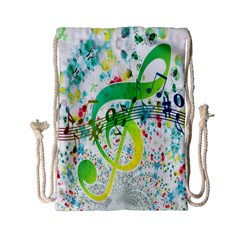 Points Circle Music Pattern Drawstring Bag (small)