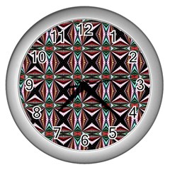 Plot Texture Background Stamping Wall Clocks (Silver)