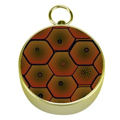 Psychedelic Pattern Gold Compasses