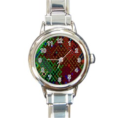 Psychedelic Abstract Swirl Round Italian Charm Watch