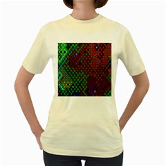 Psychedelic Abstract Swirl Women s Yellow T Shirt