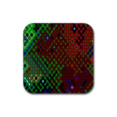 Psychedelic Abstract Swirl Rubber Coaster (Square)