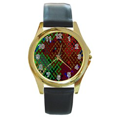 Psychedelic Abstract Swirl Round Gold Metal Watch