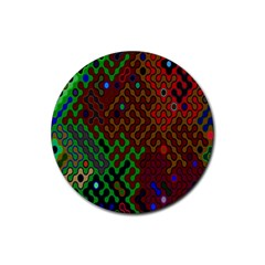 Psychedelic Abstract Swirl Rubber Round Coaster (4 pack)