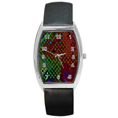 Psychedelic Abstract Swirl Barrel Style Metal Watch