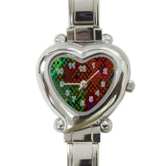 Psychedelic Abstract Swirl Heart Italian Charm Watch