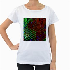 Psychedelic Abstract Swirl Women s Loose-Fit T-Shirt (White)