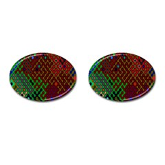 Psychedelic Abstract Swirl Cufflinks (Oval)