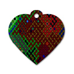 Psychedelic Abstract Swirl Dog Tag Heart (Two Sides)