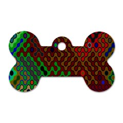 Psychedelic Abstract Swirl Dog Tag Bone (Two Sides)