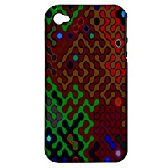 Psychedelic Abstract Swirl Apple iPhone 4/4S Hardshell Case (PC+Silicone)